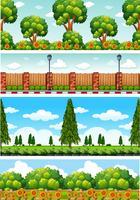 Quatro cenas da natureza com árvores e flores vetor