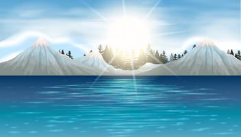 Cena da natureza com montanhas de neve e lago vetor