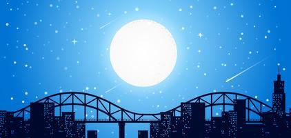 Linha do céu da cidade à noite vetor