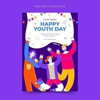 modelo de pôster feliz dia internacional da juventude vetor