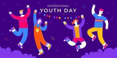 feliz dia internacional da juventude com o menino e a menina pulando vetor