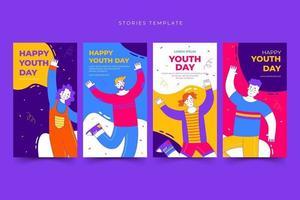 conjunto de modelos de histórias do feliz dia internacional da juventude vetor