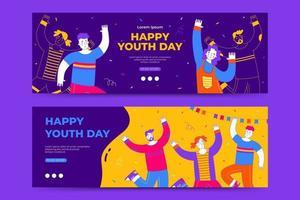 modelo de banner feliz dia internacional da juventude vetor