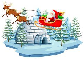 Papai Noel e trenó com iglu vetor