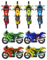 Conjunto de motocicleta em muitas cores vetor