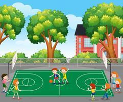 Crianças, tocando, basquetebol, cena vetor