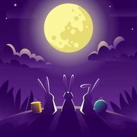 três coelhos assistindo a lua cheia vetor