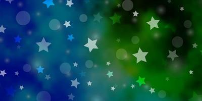modelo de vetor azul claro e verde com círculos, estrelas.