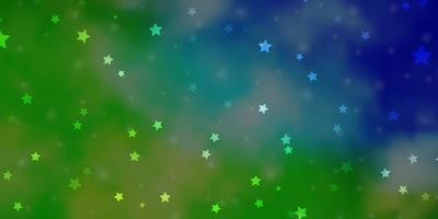 modelo de vetor azul claro e verde com estrelas de néon.