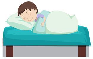 Menino, dormir, cama vetor