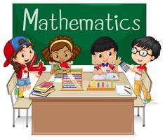 Assunto escolar para matemática com crianças em sala de aula vetor