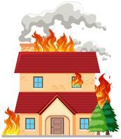 Casa moderna em chamas vetor