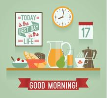 Vector design moderno apartamento ilustração do café da manhã. Bom Dia