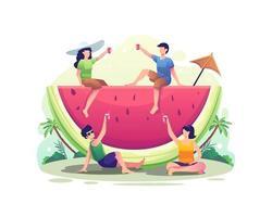pessoas relaxando enquanto bebem suco de melancia na ilustração de verão vetor