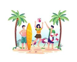 pessoas felizes brincando na praia em uma ilustração de dia de verão vetor