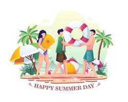feliz dia de verão. ilustração de pessoas curtindo o verão na praia vetor