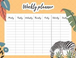 planejador semanal tropical com zebra vetor