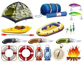 Camping conjunto com tenda e outros equipamentos vetor