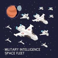 ilustração vetorial de composição isométrica de nave espacial vetor