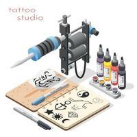 ilustração vetorial de fundo isométrico de estúdio de tatuagem vetor