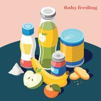 ilustração vetorial de composição isométrica alimentando bebê vetor