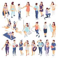 ícones de pessoas de tamanho grande definir ilustração vetorial vetor