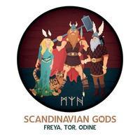 ilustração em vetor composição redonda de deuses escandinavos