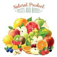 ilustração em vetor fundo frutas e bagas