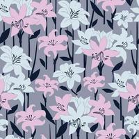 ilustração de flores modernas lilly padrão de repetição perfeita cinza e rosa vetor