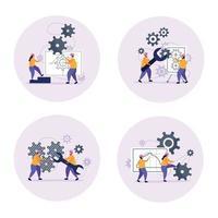 ilustração vetorial conjunto de ícones de conceito de engenharia vetor