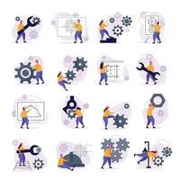 ilustração vetorial conjunto de ícones de engenharia vetor