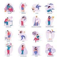 ilustração vetorial de ícones lisos de transtornos mentais vetor