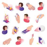ilustração em vetor coleção de ícones de biometria isométrica