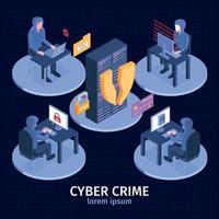 ilustração em vetor composição isométrica de crime cibernético