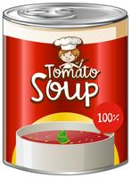 Sopa de tomate em lata de alumínio vetor