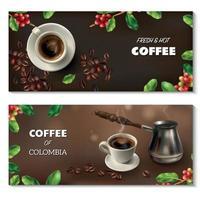 ilustração vetorial realista de conjunto de bandeiras de café vetor