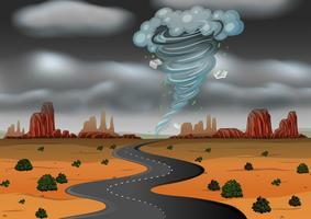 Uma tempestade atingiu o deserto vetor