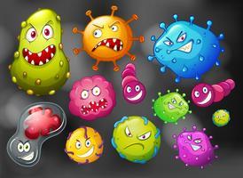 Bactérias e germes em fundo preto vetor