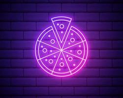 pizza - vetor de sinal de néon. pizza - letreiro de néon no fundo da parede de tijolos