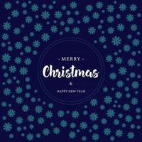 cartão de Natal com flocos de neve e letras vetor