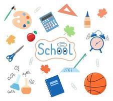 conjunto escolar de suprimentos. de volta à escola. elementos de educação isolados vetor