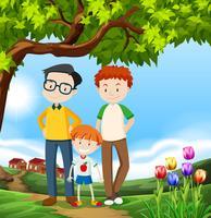 Uma feliz família de adoção LGBT vetor