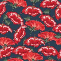 flores de hibisco vermelho sem costura padrão floral em fundo. vetor