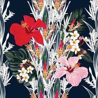 folhas de padrão floral sem costura e fundo de flores de hibisco. vetor