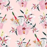 sem costura padrão floral lilly e flores de hibisco no fundo. vetor