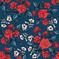 flores rosas vermelhas de teste padrão sem emenda floral abstrato base. vetor