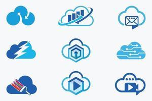 modelos de design de vetores de logotipos em nuvem