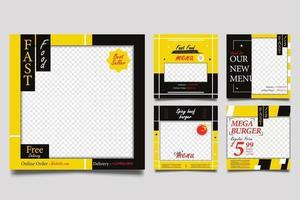 modelos de banner quadrado de promoção de fast-food definidos com fundo amarelo e preto. vetor