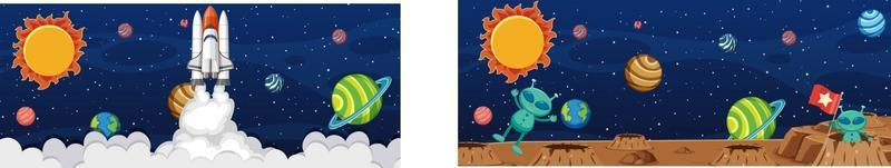 dois alienígenas na cena da galáxia com muitos planetas vetor