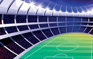 estádio de futebol à noite com torcida vetor